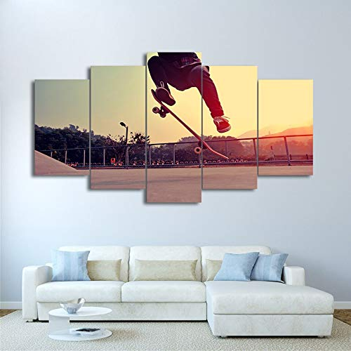 MAOYYM1 Modern HD gedrukt canvas foto's extreme sport poster woonkamer wooncultuur 5 stuks spelen skateboard schilderij kunst aan de muur 30x40 30x60 30x80cm No Frame