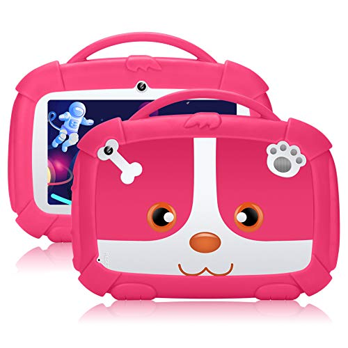 QIMAOO Kids Tablet 7 inch,GMS-Certified Android 9.0 and Kids-Mode Dual System,Quad Core,1GB RAM,16GB ROM,Dual Camera,Full HD Screen,Google Play and Learning App for Children Pink