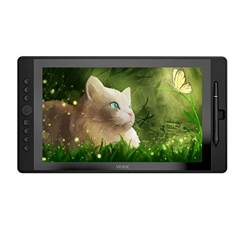 VEIKK VK1560 Full HD IPS 15.6 Inches Digital Drawing Tablet,Drawing Monitor Tablet with 8192 Level Batter-Free Pen Stylus and 7 shortcuts and 1 Scroll Dial (VK1560)