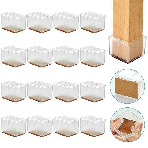 RMENOOR 16 Stück Stuhlbeinschutz Bodenschutz Silikon Stuhlbeinsocken Transparent Stuhlfuß Schutz Stuhlbeinkappen Quadratisch Stuhlsocken Filz Stuhlfuß Kappen für Stuhle Gartenstühle