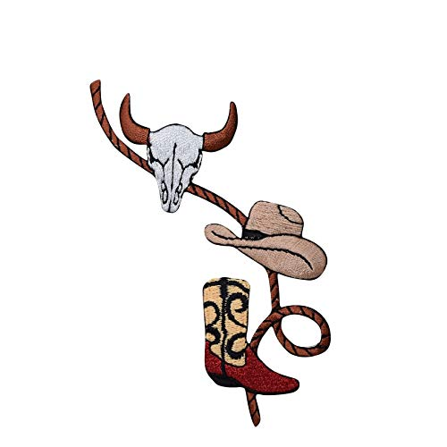 Western Rope with Boot, Cowboy Hat and Skull Iron on Embroidered Patch