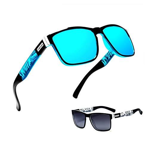 (2 unidades) Gafas de sol para hombre y hombre, polarizadas para montar al aire libre, cuadradas, resistentes al viento, Azul + Negro,