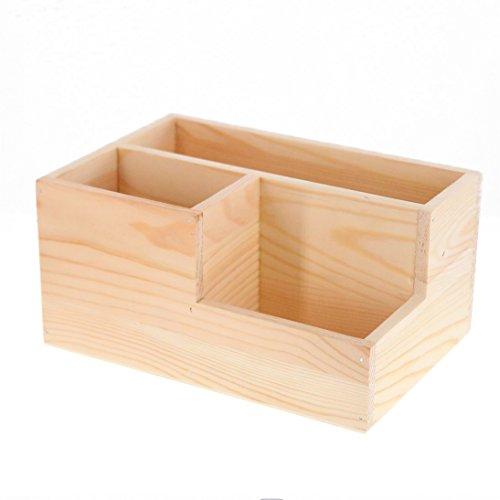 Madera 3 compartimiento control remoto Caddy soporte de almacenamiento/escritorio de suministros de oficina organizador caja contenedor para escritorio, cocina casera, suministros de oficina