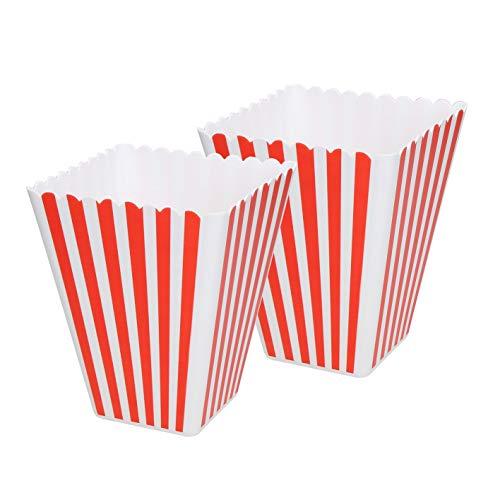 Elasto – Robusta palomitas Hollywood libre de BPA bolsas reutilizables retro de plástico Snack cubos también para helados blandos a rayas rojo-blanco (2)
