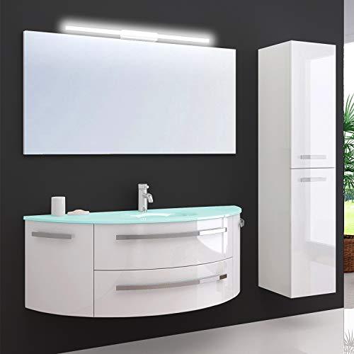 Oimex Cote Azur 120 cm Badmöbel mit LED Spiegel und 1 Seitenschrank Hochglanz Weiß Badezimmer Set mit viel Stauraum Waschtisch Unterschrank Glas Waschbecken