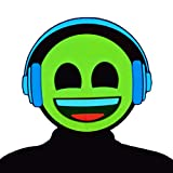GlowCity Light-Up Emoji Mask – Brighter Than LED, Flash Modes (Headphones) Yellow