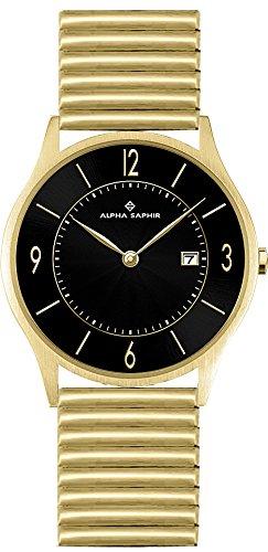 Alpha Saphir Herren Analog Quarz Uhr mit Edelstahl Armband 3.35E+01