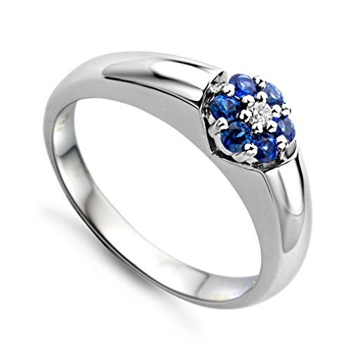 Miore Schmuck Damen 0.03 Ct Diamant Verlobugnsring mit Edelstein/Geburtsstein blauer Saphir und Diamant Brillant Ring aus Weißgold 18 Karat / 750 Gold