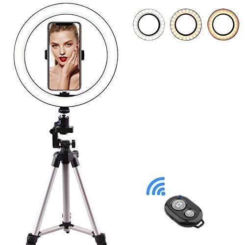 housesweet Selfie Ringlicht Dimmbare Kamera LED Ringlicht für Make-Up Live-Stream Vlog Youtube Kamera Telefon mit Stativ Telefonhalter Fernbedienung