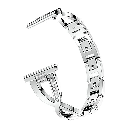 DGDD Correa de 46mm Relojes Metal Mujer - Smart Watch Band Hombre, Reemplazo Correa Reloj Banda Acero Inoxidable Compatible con Samsung Galaxy Watch Active Bracele,Silver 46mm