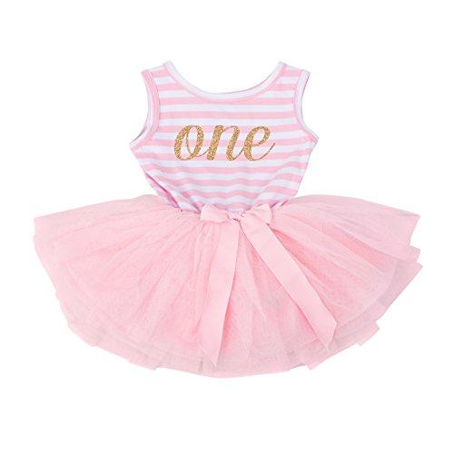 Grace & Lucille Pink Striped Sleeveless Baby Birthday Dress (Gold, 1st Birthday (6-12 Months))