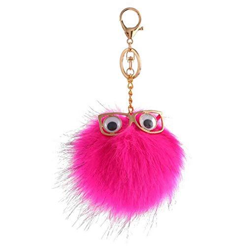 Schlüsselanhänger plüsch Ball glänzend Mini Augen TaschenanhängerElegant Plüsch-Kugel Auto-Anhänger Pompom Weich Schlüsselring Handtaschenanhänger Dekor bommel Keychain Glücksbringer Geschenk (# 7)