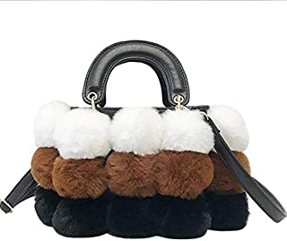 TOOGOO Fashion Faux Plush Ball Tote Bag Lady Cute Shoulder Bag Pu Leather Crossbody Bag Brown