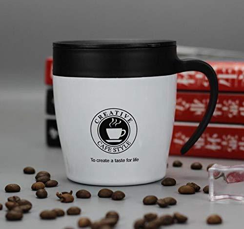 LLK 1 PC 330ml Oficina de Oficina Taza de café Thermos Acero Inoxidable Taza de café aislada Tazas de Agua Vaso con Tapa de asa y Cuchara de Mezcla