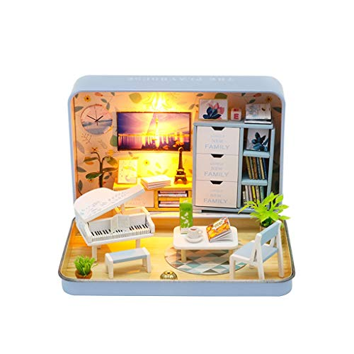 Gpure Casa de Muñecos Caja de Lat DIY 3D Juegos De Construcción con Muebles y Accesorios para Niños Niña Juguetes Maqueta De Fiesta Divertido Regalos De Cumpleaños Conmemorativas De Adornes