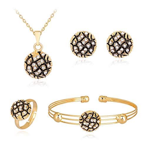 LPZW Collar de Diamante de aleación Exquisita Anillo de Oreja Anillo de Pulsera Cuatro Conjuntos de artículos Salvajes Boutique (Color : A)