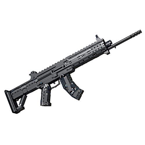 Seasy Juego de construcción para rifle de asalto técnico, 1352 bloques de construcción de sujeción, armas de tiro militar con función de disparo, juego de construcción, compatible con Lego