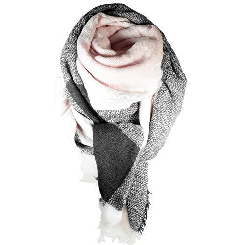 cosey – Bunter XXL-Schal, quadratisch in Rosa-Anthazit