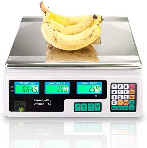 Bradoner Escala de cocina digital, escala de computación de precio electrónico 40kg |Food Digital Deli Produce escamas de peso Equipo de conteo con pantalla LCD para tienda de salida al por menor, coc