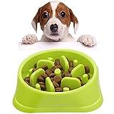 Platos para perros Comedero para Que Perros coman despacio Alimentación Lenta Interactivo Freno a la hinchazón Cuencos para Perros, se adaptan a Perros y Gatos pequeños, medianos (verde)
