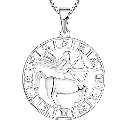 YL Collar Sagitario de Plata 925 Horóscopo de Plata Zodiaco 12 Constelación Collar Colgante para Mujeres y Niñas