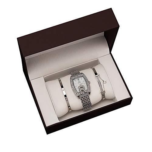 YIBOKANG 3 Piezas De Damas De Moda Barril Agua Taladro Impermeable Reloj Pulsera Conjunto Casual Luz De Lujo Regalo De Lujo Reloj De Moda Conjunto (Color : Plata)