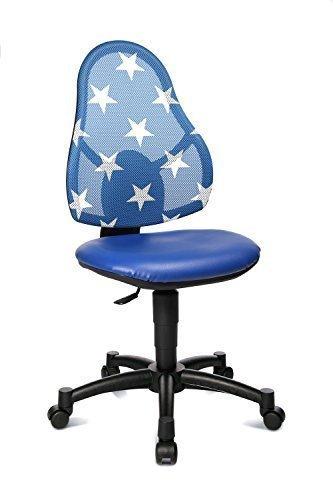 Topstar Kinderdrehstuhl Open Art Junior blau für Jungen und Mädchen Kinderschreibtischstuhl mit Netz-Rücken Motiv blau mit Sternen Weiss
