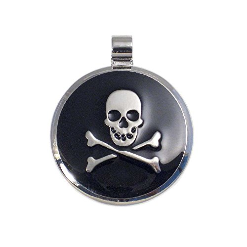 LuckyPet Pet ID Tag - Skull & Crossbones Jewelry Tag - Dog Tags & Cat Tags - Custom Engraved on Back Side - Size: Small, Color: Black