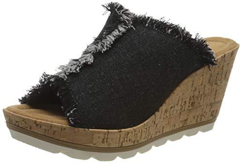 Minnetonka York/Black Denim Fabric, Sandale Femme, 41 EU