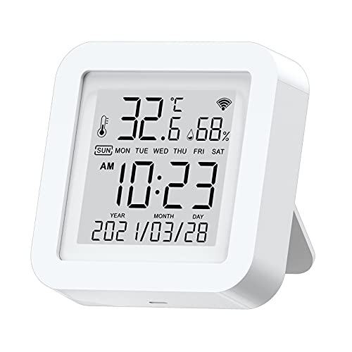 WiFi Temperature Humidity Monitor,Tuya Smart Temperature and Humidity Sensor with LCD Screen Display,Compatible with Alexa, Google Assistant and Smart-Things,for Bedroom, Living Room, Kitchen, etc
