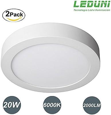 LEDUNI ® Downlight Plafón Superficie LED Redonda 20W 2000LM Color Blanco Frío 6000K Angulo 120 IP20 OPAL Aluminio 225 * 40Hmm Pack 2 Unidades: Amazon.es: Iluminación