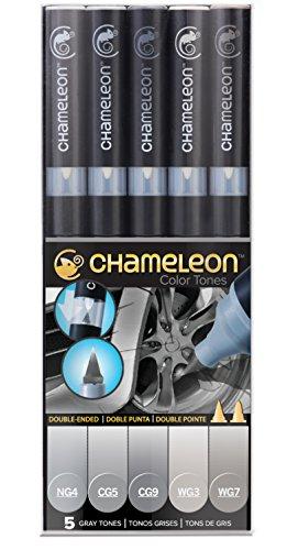 Chameleon Art Products - 5 rotuladores de alcohol permanentes; Tonos Grises