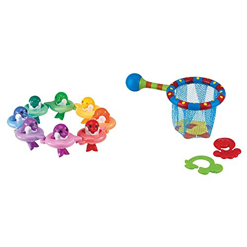 Toomies TOMY Do Re Mi Dolphins Baby Bath Toy | Educational and Musical Toy For Toddlers | Kids Bath Toys Suitable For Boys & Girls 1, 2 & 3 Years & Nuby Splash N' Catch Fishing Set Bath Toy, Multi