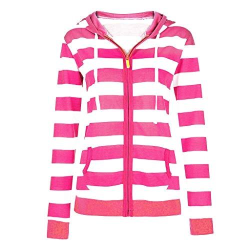 Dtuta Hooded Streifen Damen, Kapuzenpullover Groß Größe Streifen Reißverschluss Lässige schlanke Tops Hooded Sweatshirt Mantel Jacke Jumper,Angebote!