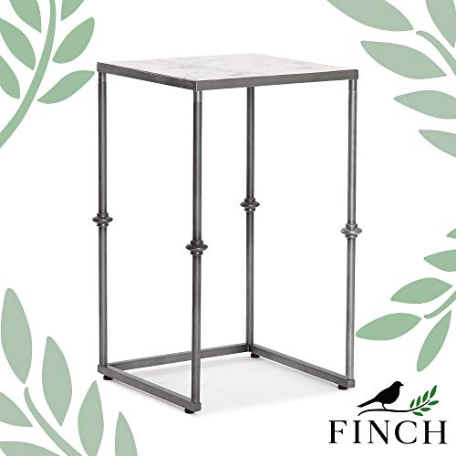Finch Berlin Solid Marble Side Small Square Accent Living Room Table Distressed Metal Frame Fully Assembled, White