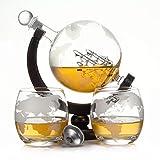 casavetro Whisky Karaffe 900 ml Mundgeblasen GLOBUS und 2 Gläser Set je 350ml Glas-Karaffe Welt...