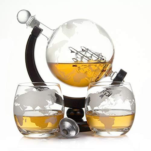 casavetro Whisky Karaffe 900 ml Mundgeblasen GLOBUS und 2 Gläser Set je 350ml Glas-Karaffe Welt Dekanter Flasche 0,9 Liter l Glasflasche Likör Schnaps Wein Karaffe Dekantierer (Globus Holz Set)