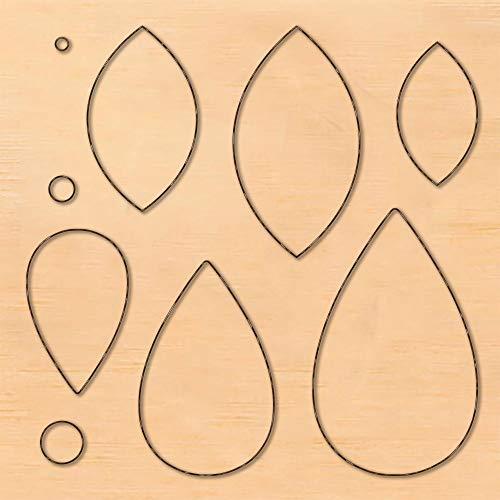 PandaHall Molde de madera para troquelado de scrapbook, forma de lágrima/ojo de caballo, para pendientes, joyas, manualidades, cuero, manualidades