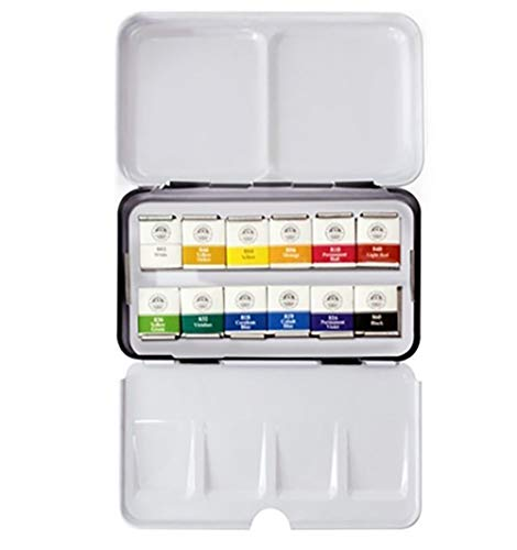 Mungyo Professional Half Pan Size Water Colors Set in Tin Case/Integral Mixing Palette in The lid (12 Colors)