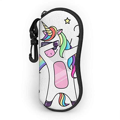 Sonnenbrille Soft Case für Frauen und Männer, ultraleichte Neopren-Reißverschluss-Brillenetui mit Gürtelclip, Fantasy Bing Horse Unicorn Flat Style
