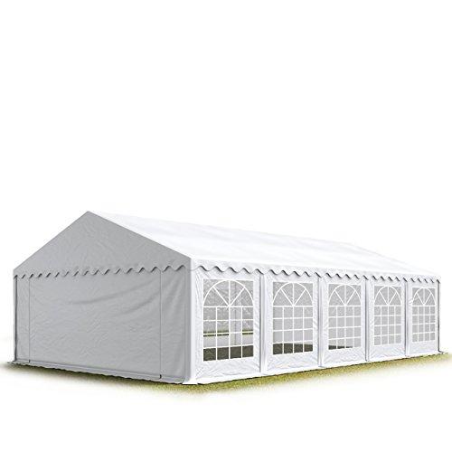 TOOLPORT Party-Zelt Festzelt 5x10 m Garten-Pavillon -Zelt ca. 500g/m² PVC Plane in weiß Wasserdicht