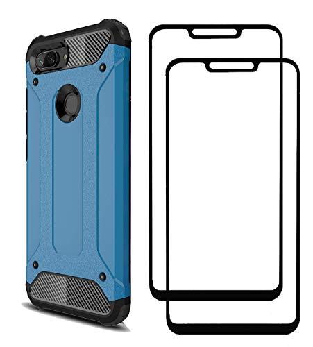 FANFO Xiaomi Mi8 Lite Funda + [2 Pack] Cristal Vidrio Templado, Azul