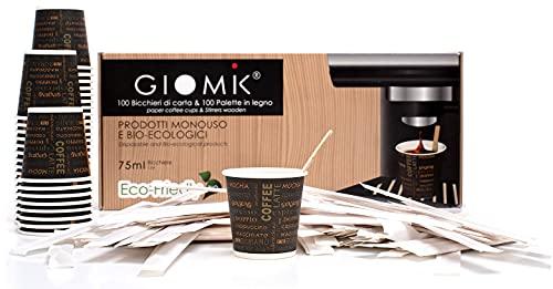 GIOMIK® - 100 Bicchierini Caffè Carta 75ml, Bicchieri Carta Biodegradabili da Asporto, Monouso, Ecologici Bio Compostabili + 100 Bastoncini In Legno Imbustati Singolarmente