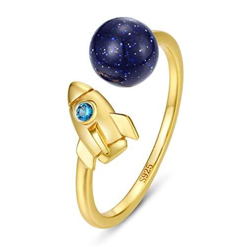 YMQMYZ 925 Sterlingsilber vergoldet Studenten Ring Roaming Der Sternenhimmel mit blauem Kristall Sand Planet Astronaut Rakete Ring