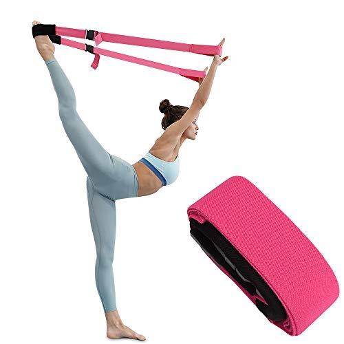 TOBWOLF Bein-Stretchband für Fitness, verstellbarer Yoga-Gurt mit Schnalle zur Verbesserung der Flexibilität, Klimmzughilfen Bänder Gürtel für Training Gymnastik Pilates Tanz – Rosarot
