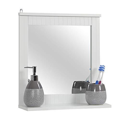 Taylor & Brown Espejo de pared enmarcado de madera, espejo de baño con estante, espejo de tocador para colgar para sala de estar y baño