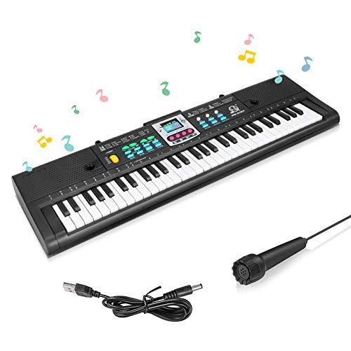 Achort Teclado de Piano Para Niños, 61 Teclas Teclado Electrónico Piano Multifunción con Micrófono, Portátil Electrónico Músical Piano de Karaoke, Recargable, para niños y niñas