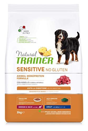 Natural Trainer Sensitive No Gluten - Cibo per Cani Medium&Maxi Adult con Agnello e Cereali Integrali 3kg