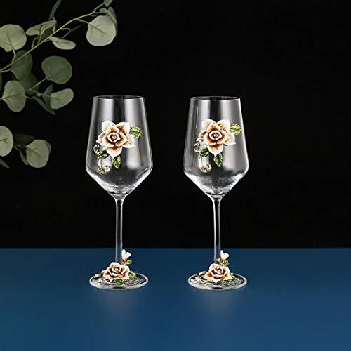 AYES Vaso de vino rojo/blanco, pintado a mano, con flor esmaltada y cristal de tallo largo, sin plomo, ideal para mujeres, mamá, amigas, día de la madre (amarillo 2 lite)