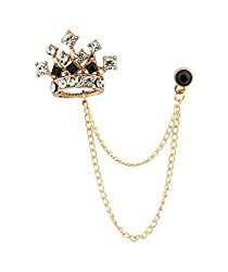 GOLD-RED Crown Chain Brooch